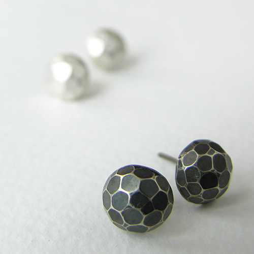 ccbb3b9d6 Oxidised Silver Dome Studs with Faceted Texture